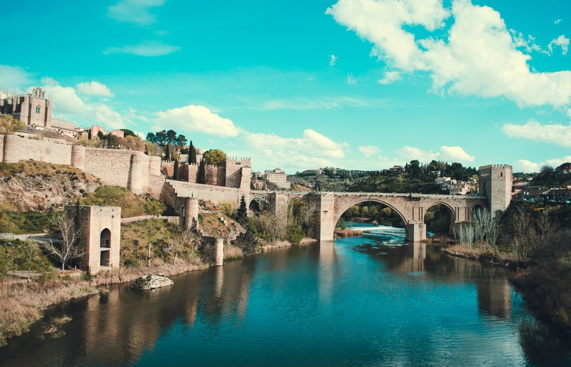 Toledo medival bridge over river